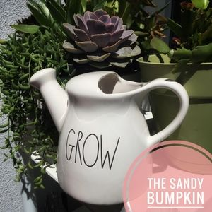 "Rae Dunn LL ""GROW"" Ceramic Watering Can"